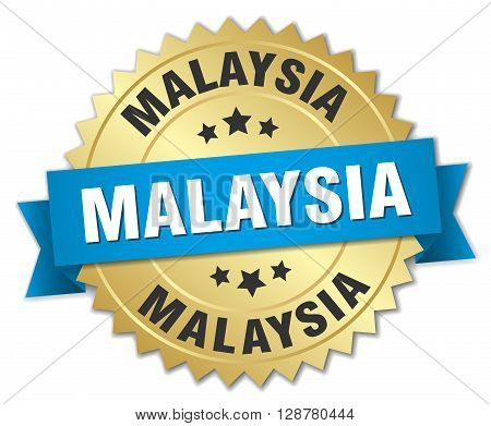 Malaysia round golden badge with blue ribbon