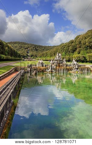 Caserta,Campania, Italy, May 1, 2016: Caserta Palace Royal Garden. In the foreground The Fountain of Ceres..It is a former royal residence in Caserta constructed for the Bourbon kings of Naples