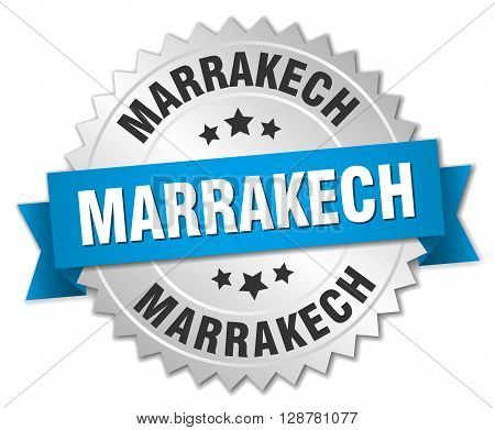 Marrakech round silver badge with blue ribbon