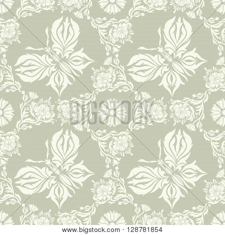 Seamless vintage background. Vector background for textile design. Wallpaper background web design. Floral ornament. Damascus. Butterflies.