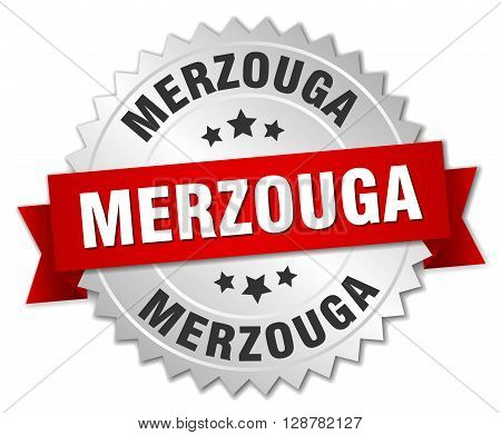 Merzouga round silver badge with red ribbon