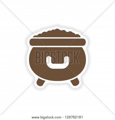 stylish paper sticker on white background cauldron coins