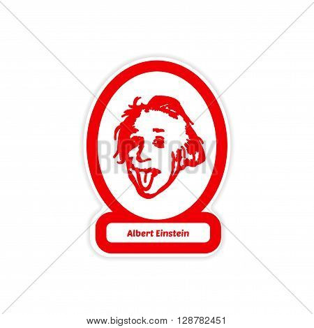 paper sticker on white background Albert Einstein