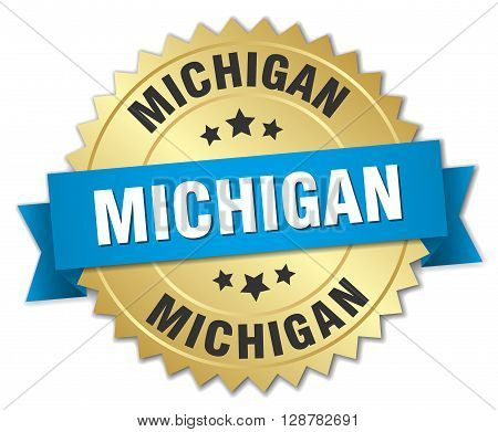 Michigan round golden badge with blue ribbon