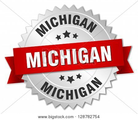 Michigan round silver badge with red ribbon