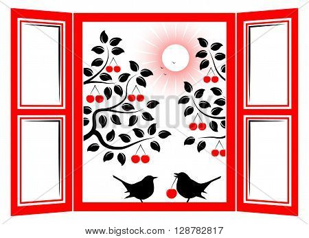 vector couple of birds in the window and cherry trees outside the window