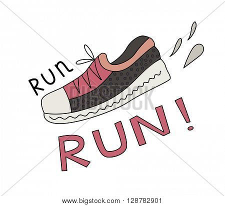 Cartoon vector illustration of a sneaker, splashes and Run lettering.