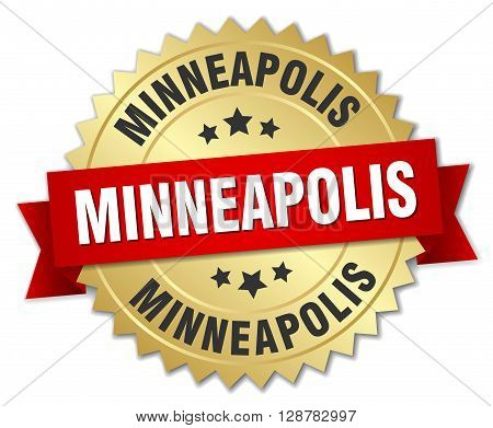 Minneapolis round golden badge with red ribbon
