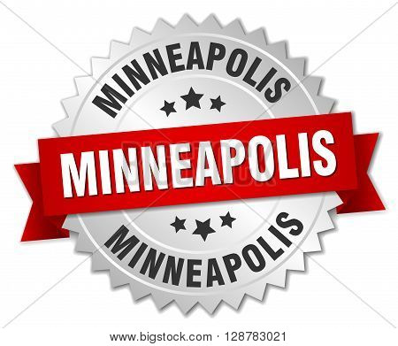 Minneapolis round silver badge with red ribbon
