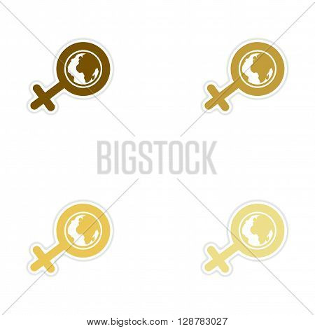 Concept paper stickers on white  background feminine sign Global