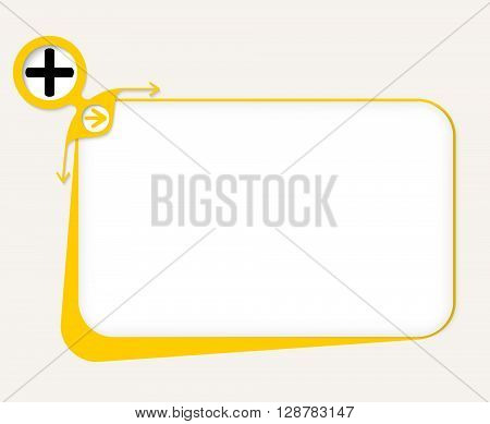 Vector yellow box to fill your text and plus symbol