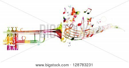Colorful trumpet design with butterflies. Vector illustration