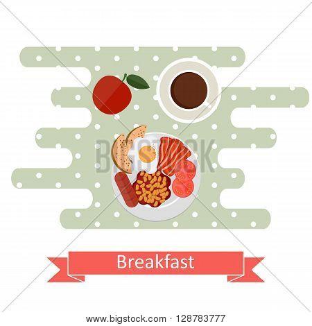 Flat design illustration concepts for American breakfast breakfast time.