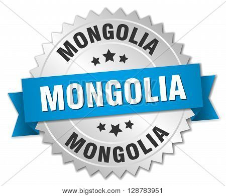 Mongolia round silver badge with blue ribbon