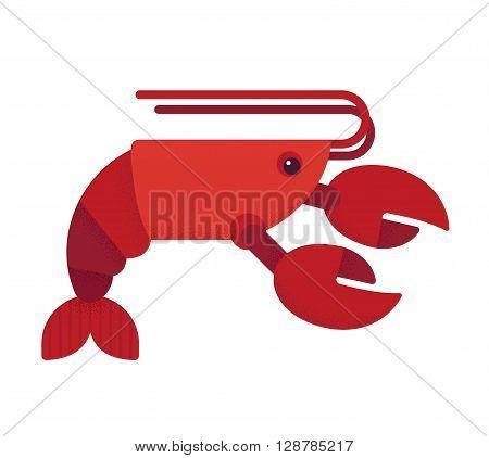 Red lobster flat vector illustration. Geometric cartoon style.