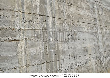 Layered Concrete Wall In Perspective