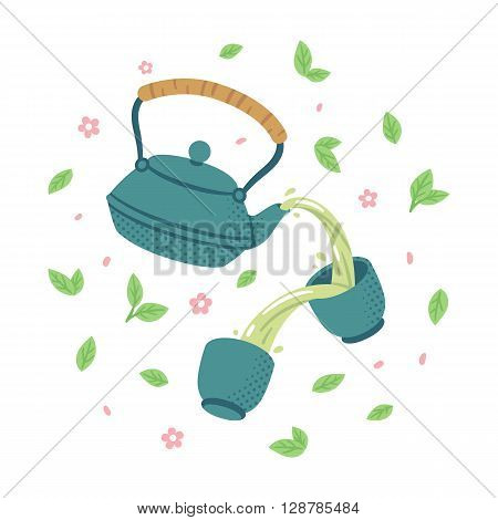 Japanese tea set. Teapot pouring green tea in cups surronded by tea leaves and flowers.