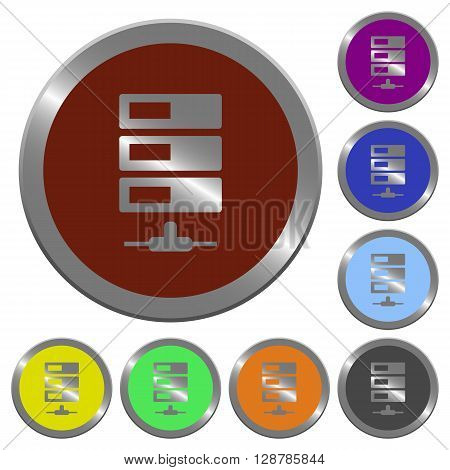 Set of color glossy coin-like data network buttons.