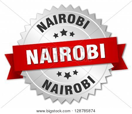 Nairobi round silver badge with red ribbon