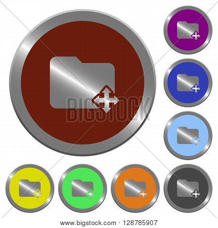 Set of color glossy coin-like move folder buttons.