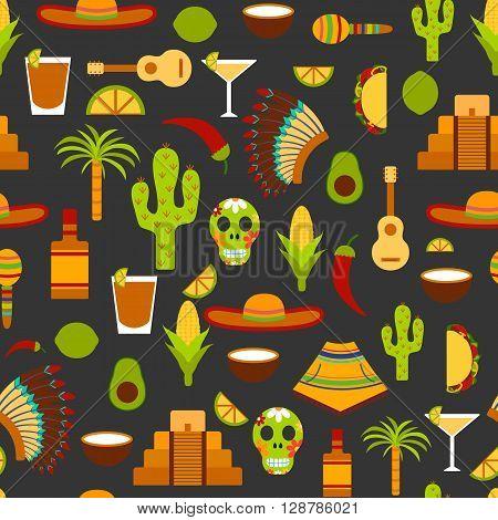 Illustration with flat Mexico travel background. Cartoon Mexico objects. Latin America and Mexico travel: palm tree tequila Mexico pyramid sombrero native american hat guitar avocado