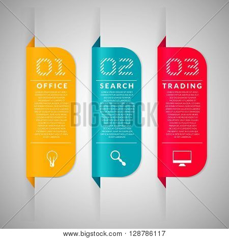 Colorful business banners. Set of vector banners. Paper stickers for design business plans.