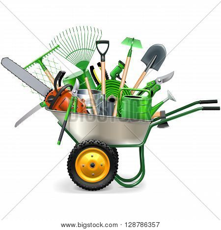Vector Wheelbarrow with Garden Accessories isolated on white background