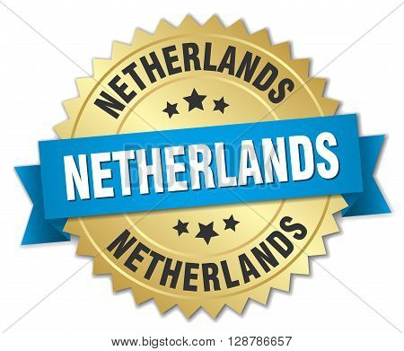 Netherlands round golden badge with blue ribbon