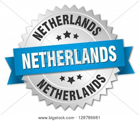 Netherlands round silver badge with blue ribbon