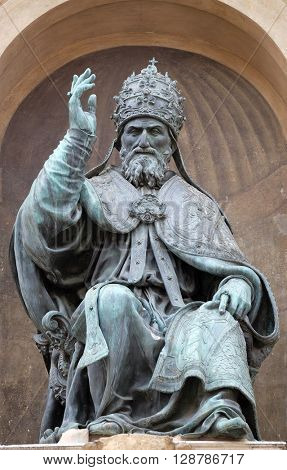 BOLOGNA, ITALY - JUNE 04: Bologna landmark Pope Gregory XIII statue in Bologna, Italy, on June 04, 2015