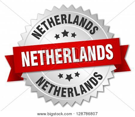 Netherlands round silver badge with red ribbon