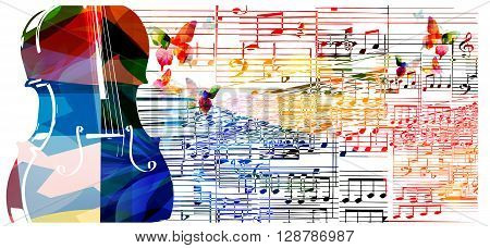 Colorful violoncello design with butterflies. Vector illustration