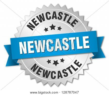 Newcastle round silver badge with blue ribbon