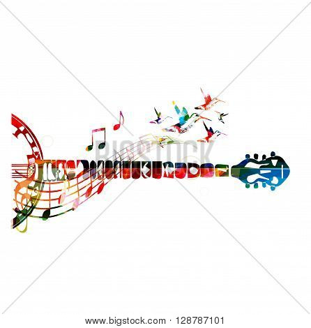 Colorful banjo neck with music notes. Vector illustration