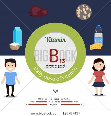 Vitamin B13 and vector set of vitamin B13 rich foods. Healthy lifestyle and diet concept. Daily dose of vitamin B13. Orotic acid.