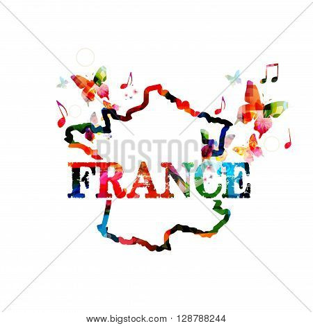 Vector illustration of colorful map of France with butterflies