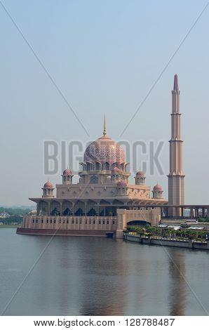 Putra Mosque in Putrajaya (View from Seri Wawasan Bridge), Malaysia