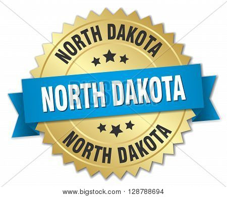 North Dakota round golden badge with blue ribbon