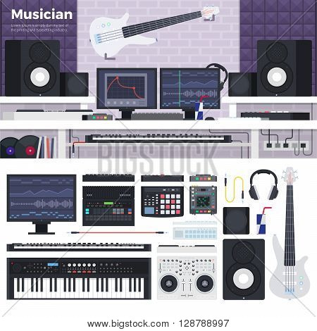 Musician workspace vector flat illustrations. Musician working cabinet with digital equipment. Sound art concept. Computer, headphones, guitar, sequencer, loudspeaker isolated on white background