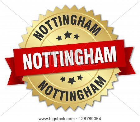 Nottingham round golden badge with red ribbon