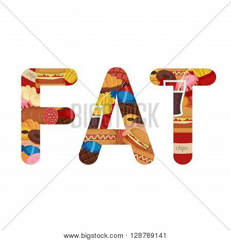 Fat lettering. Unhealthy Foods concept. Letters with icons of unhealthy foods.