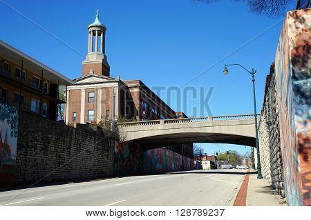 JOLIET, ILLINOIS / UNITED STATES - APRIL 26, 2015: The Broadway Street Bridge crosses Jefferson Street near downtown Joliet.
