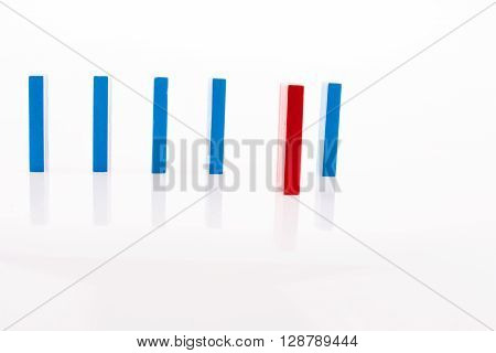 Color Dominoes lined on a white background