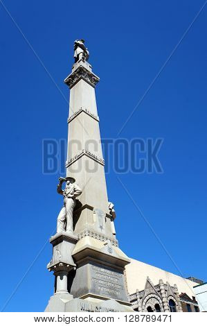 The Will County Civil War Memorial, aka the Soldiers and Sailors of Civil War Monument, was erected in front of the Will County Courthouse in Joliet, Illinois in 1884.