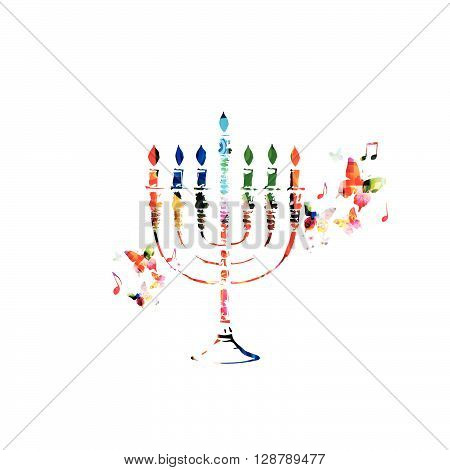 Vector illustration of colorful Hanukkah menorah with candles