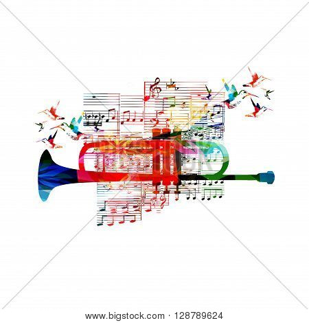 Colorful trumpet design with hummingbirds. Vector illustration