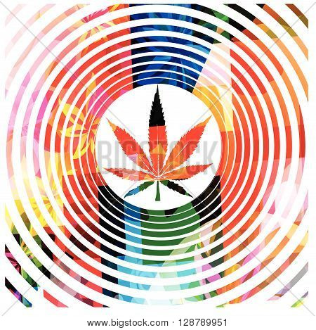 Vector illustration of colorful hypnotic marijuana design