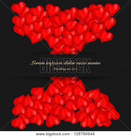Greeting card full of hearts. Valentine greeting card with lot of hearts and gold text. Red bright greeting card with hearts. 3D hearts on greeting card with gold text.