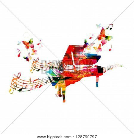 Colorful piano background with butterfly. Vector illustration