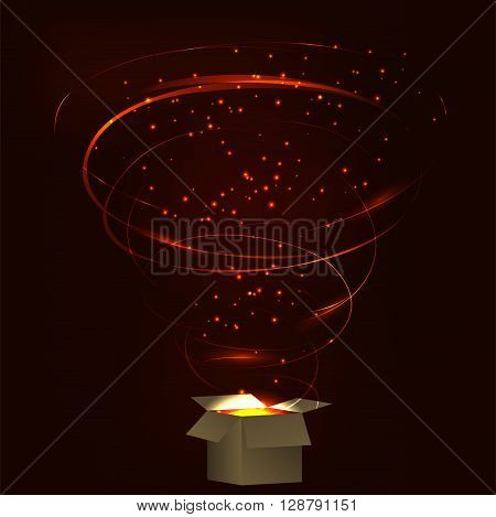 Magic box. Magic box with tornado fireworks. Magic box with circular plasma explosion. Magic box with sparkles. Box full of red magic. Spell from magic box. Charming magic box.